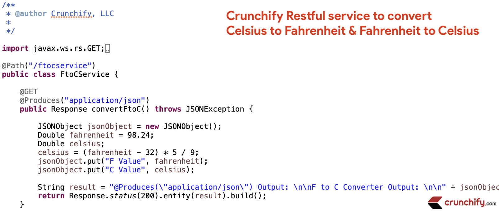 Crunchify Restful service to convert Celsius to Fahrenheit & Fahrenheit to Celsius