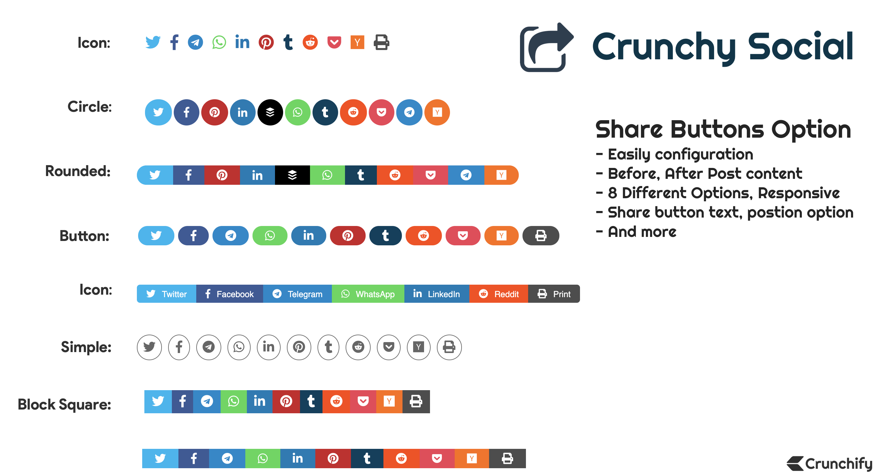 Crunchy Social Premium Plugin Normal Post Buttons Options