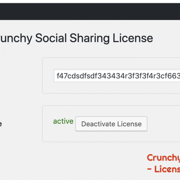 Crunchy Social Sharing WordPress Plugin -Activate License Option