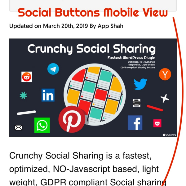 Crunchy Social Sharing - iPhoneX - Mobile Layout