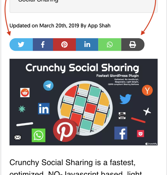 Social Sharing button on the top of Post - Mobile View