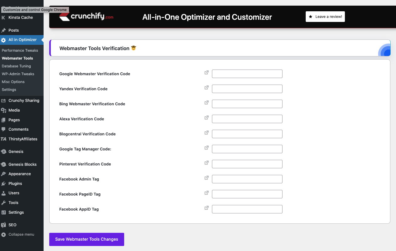 All-in-One Optimizer and Customizer WordPress Plugin - Webmaster Tools